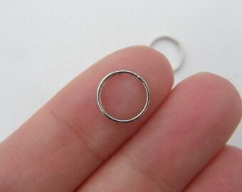 100 Split rings 10mm silver tone FS412