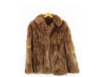 Vintage Minimalist Caramel Rabbit Fur Coat Large