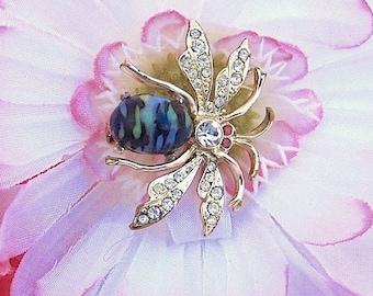 Art Glass Rhinestone Bee Brooch ~ Vintage Bumble Bee Pin w/ Blue and Black Swirl Body and Pink Rhinestone Eyes