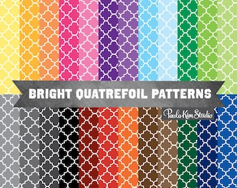 Quatrefoil Digital Paper, Moroccan Tile Pattern Digital Paper, Commercial Use Clipart Backgrounds, Digital