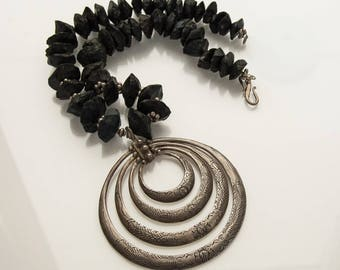 Onyx Necklace with MASSIVE Hilltribe Silver Pendant