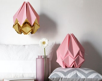 Pink and gold origami lamp | elegant and funny handmade paper pendant light perfect for your living room, bedroom, baby room | modern design