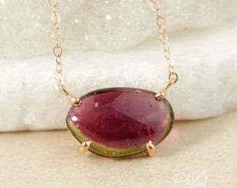 Freeform Watermelon Tourmaline Necklace – Choose Your Pendant