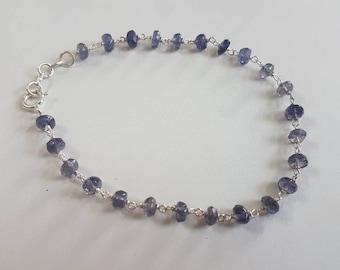 Iolite rosary chain beaded bracelet in Sterling Silver , Gemstone jewellery , Iolite is powerful semi precious stone
