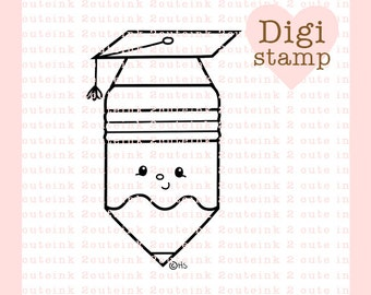 Graduation Pencil Digital Stamp - Pencil Digital Stamp - Digital Graduation Stamp - Pencil Art - Graduation Card Supply