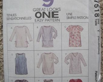 UNCUT Misses Tunics - Size XS to Medium - McCalls Pattern 7518 - Vintage 1995