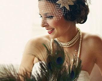 Art Deco, Bridal Veil, High Fashion, Hair Accessory, Silver Star Headpiece, Great Gatsby Wedding, Feather Fascinator, Customize It
