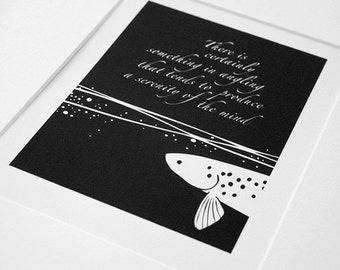 Something in angling -  trout & fly fishing, black and white print