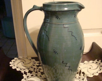 Large Teal Pottery Pitcher