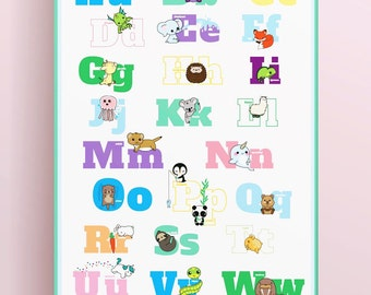Animal Alphabet Poster or Decals // Download + Print