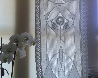 """Rennie Mackintosh Cotton curtain lace panel sidelight per metre in white or ivory 12"""" wide arts & crafts design"""