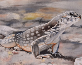 Giclee Reproduction on paper from an original oil painting of a desert iguana