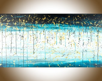 Abstract painting blue abstract rain painting large wall art original art large canvas art gift for man gift for her home decor office decor