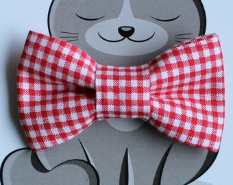 Red and White Gingham Bow Tie for Cat, Dog Bowtie, Slide on Collar Accessory, Handmade in Canada, Collar NOT Included, Summer, Checks