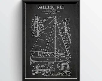 1967 Sailing Rig Patent Poster, Sailboat Poster, Sailboat Art Print, Patent Art Print, Patent Print, Wall Art, Home Decor, Gift Idea, NA10P
