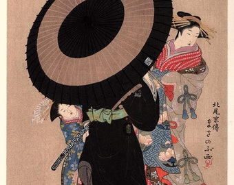 1906, Japanese antique woodblock print, Kitao Masanobu, from Ukiyoe-ha-gashu.