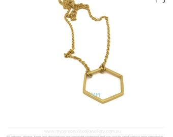 Hexagon Necklace Silver or gold - Geometric Necklace - Delicate Hexagon Charm