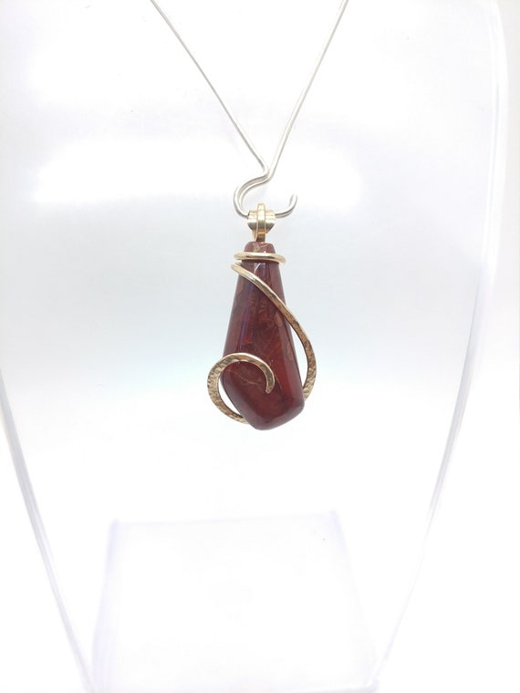 Carnelian Agate Pendant | Washington Carnelian Agate | 14kt Yellow Gold Filled Pendant | Natural Stone Necklace | Gift for Mom
