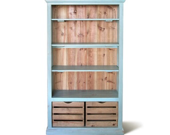 Bookcase, Display Cabinet, Bookshelves, Reclaimed Wood, Farmhouse, Console Cabinet, Handmade, Rustic