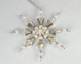 Beaded snowflake, Christmas decoration, Christmas ornament, Xmas tree decoration, beaded Christmas decoration, silver decorations