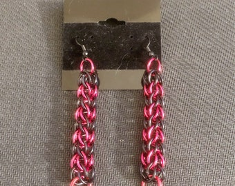 """3"""" Black Red Earrings - Chainmail Metal Earrings - Punk Alt Earrings - Dangle Drop Earrings - French Hook Earrings - Chainmaille Jewellry"""