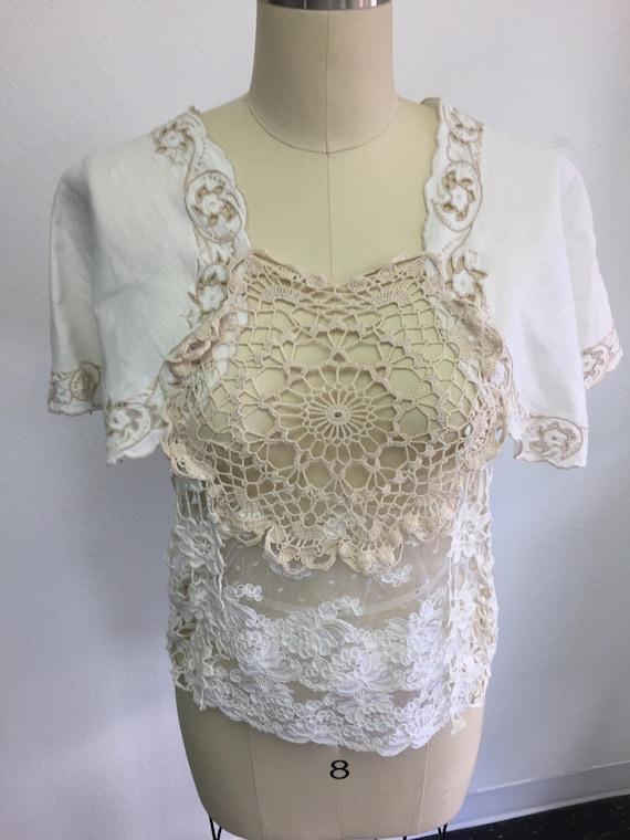 Vintage BOHO Doily and Linen Lace Topper - bridal, bohemian, gypsy, wedding
