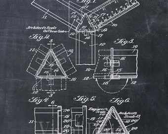 Engineer Architect Scale Patent Print Art, Engineer Gift