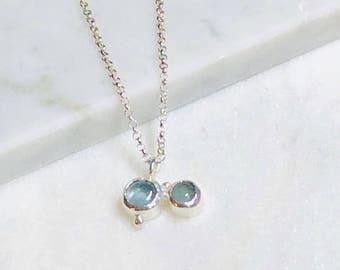Boho Aquamarines silver Necklace