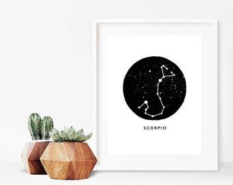 Scorpio Zodiac Luxury Pen & Ink Illustration Print - A5 or A4