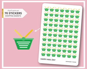 Shopping basket icon stickers for planner - 70 stickers