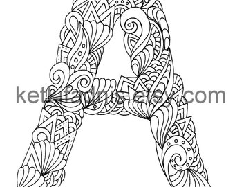 letter a coloring page instant pdf download alphabet coloring page hand drawn diy printable coloring page letter illustration - Coloring Page Letter A