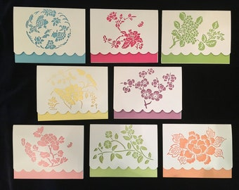Set of 8 notecards with envelopes; Free shipping; paper-cut; greeting cards; stationery