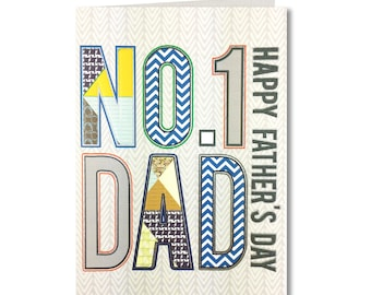 SPECIAL OFFER Geo Collection - Fathers Day Card - No.1 Dad, Happy Fathers Day - Handmade Greeting Card - GE24