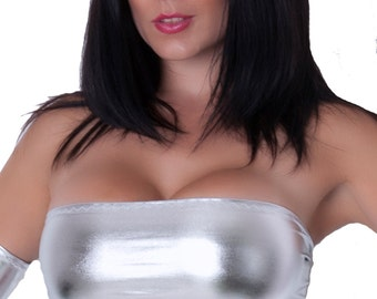 Metallic Silver Wet Look Shiny Boob Tube Top Bandeau Lycra Spandex Party Clubwear B87