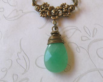 Green jade necklace, pendant teardrop, wire wrapped stone, womens gift, gemstone jewelry, gift for her