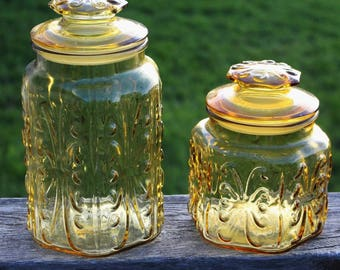 Vtg Amber Imperial Glass Canister Storage Jars Apothecary Jars L.E. Smith Atterbury Scroll Lot of 2 Kitchen Containers with Lids