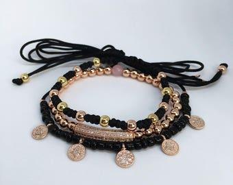 Beaded Bracelet Set, Beaded Bracelet Stack, Black Beaded Choker, Jewelry Set
