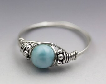 Larimar Blue Pectolite Bali Sterling Silver Wire Wrapped Bead Ring - Made to Order, Ships Fast!