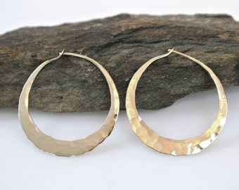 14k Gold Hoop Earrings - Large Gold Hoops - Small Gold Hoops - Solid Gold Earrings