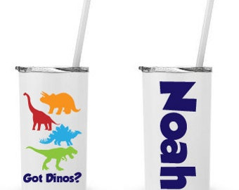 Got Dinos- Personalized 12 0z. Roadie Tumbler with Straw and Lid, Insulated Stainless Steel