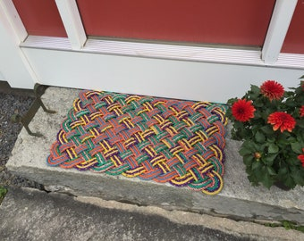 Maine rope rug, Upcycled lobster rope, Maine made, Nautical outdoor mat, Vibrant doormat as seen on HGTV Magazine
