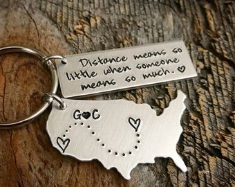 Long Distance Relationship Boyfriend Gift Personalized USA Keychain State keychain Long Distance Girlfriend Gift Custom Keychain