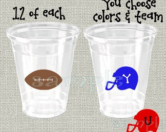 24 Football vinyl decals college football decorations football party vinyl cup stickers vinyl party cup stickers NFL football decals sport