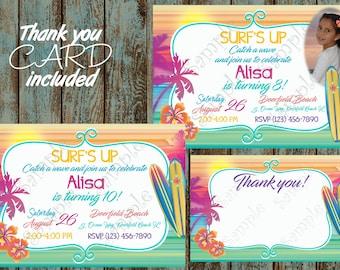 Surf Invitation, Beach Invitation, Surf Birthday Party, Surf Printable Invitation, Beach Birthday, Surfing invitation, Hawaiian Invitation