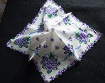 Violets in Vintage Handkerchief from Woolworths