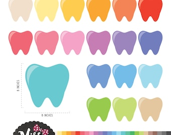 26 Colors Tooth Clipart. Teeth Clipart - Instant Download