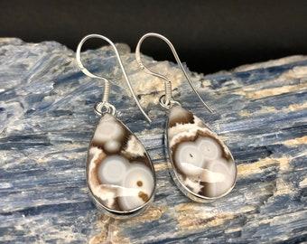 Ocean Jasper Earrings // Silver Jasper Earrings // Teardrop Jasper Earrings // 925 Sterling Silver