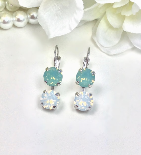 Swarovski Crystal 8.5mm/8.5mm Lever-Back Drop Earrings  - Pacific Opal & White Opal  -  OR Choose Custom Colors - Classy - FREE SHIPPING