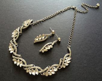 Wedding Jewelry Rhinestone Crystals Jewelry Set, Wedding Jewelry, Bridal Jewelry, Crytals Necklace, Engaged, Bridesmaids Jewelry