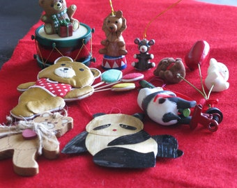 FREE SHIPPING...8 Vintage bear ornaments and a lion on a circus pedestal. Two pandas, Winnie, gingerbread bear, bear on a drum